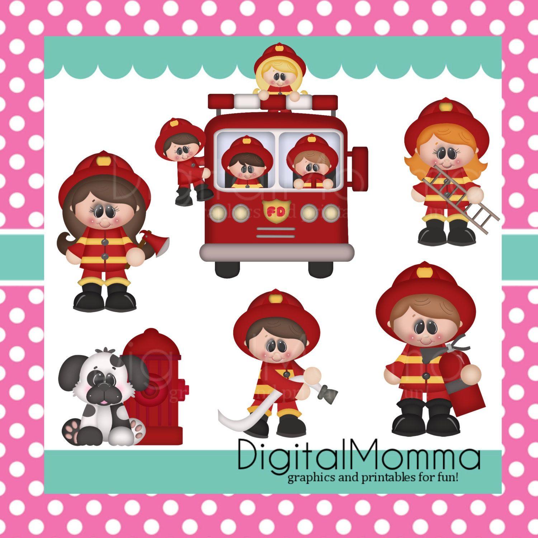 Firemen Kids Clipart Fireman Firefighter Clipart door DigitalMomma