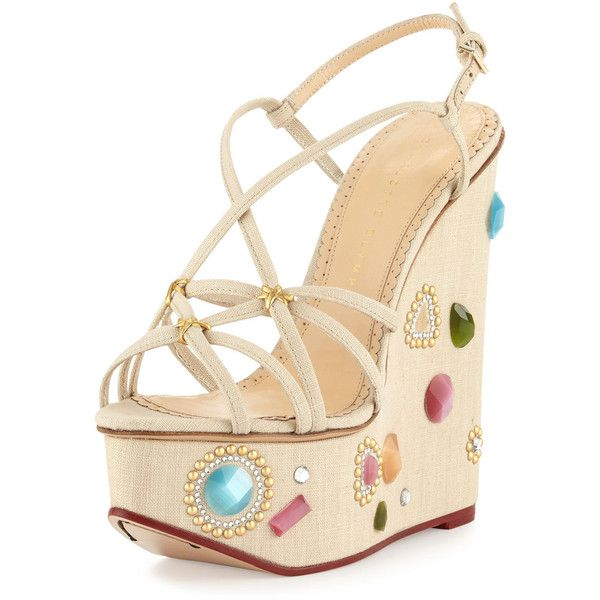 Charlotte Olympia Elizabeth Jeweled Wedge Sandal ($1,105) ❤ liked on Polyvore featuring shoes, sandals, natural, jeweled sandals, strappy wedge sandals, wedge sandals, open toe wedge shoes and strappy sandals