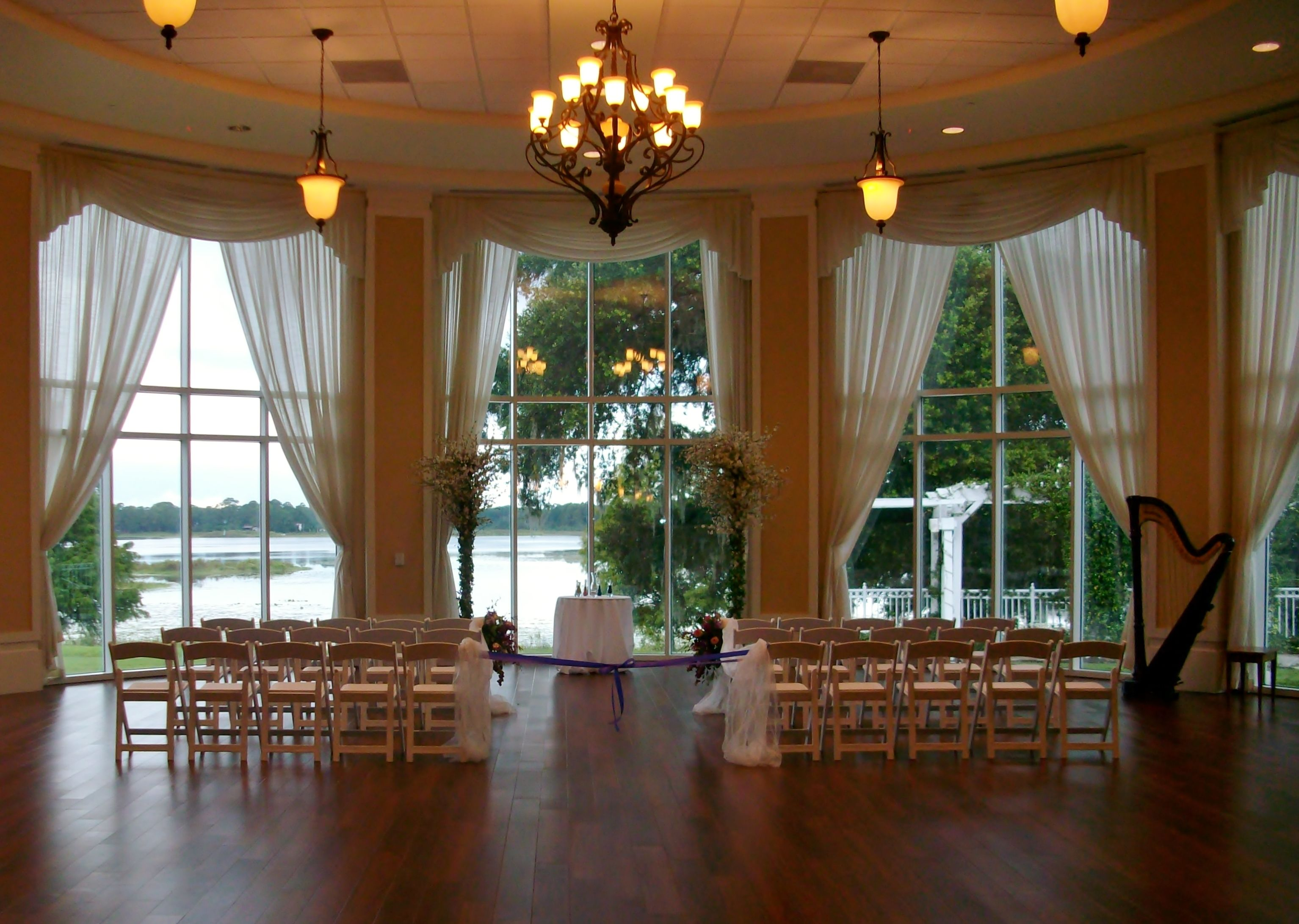 Lake Mary Events Center Rotunda Orlando Wedding Harpist Set Up For A Ceremony