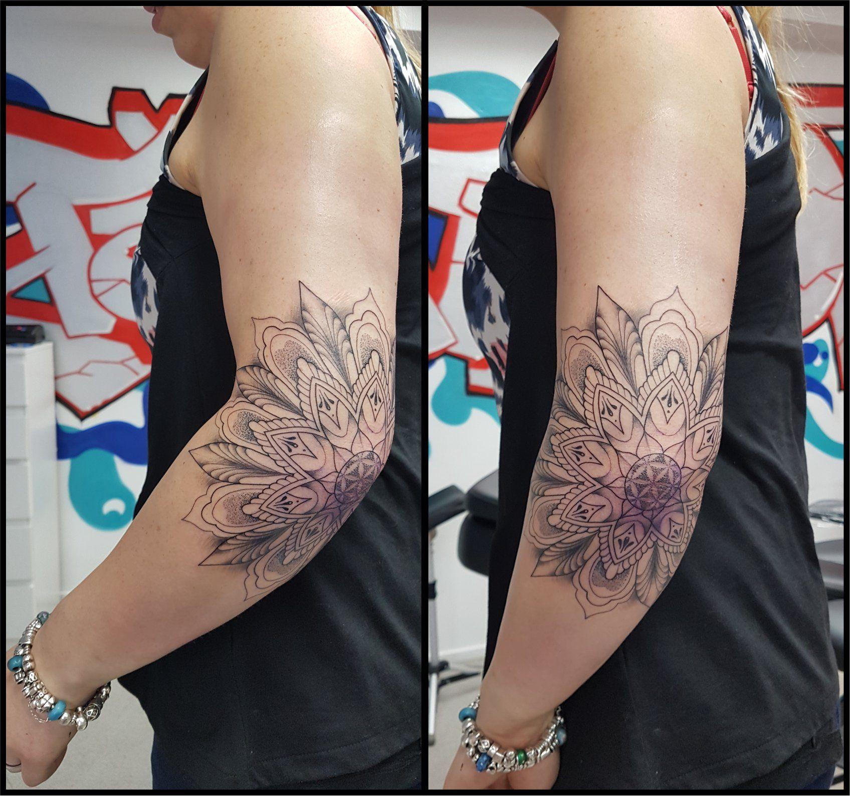 Mandala Female Elbow Tattoo Blackandgrey Flower Floweroflife Sleeve Female Elbow Tattoos Tattoos Tattoos For Women