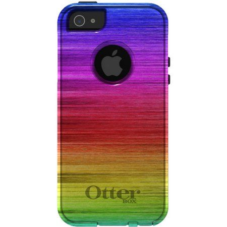 809c6acd99ec4a Buy DistinctInk™ Custom Black OtterBox Commuter Series Case for Apple  iPhone 5   5S   SE - Rainbow Shimmering Lines at Walmart.com