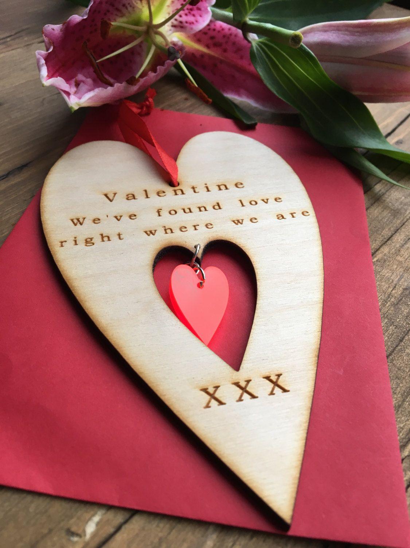 Valentines Heart Wooden Valentines Card Valentines Greeting Card