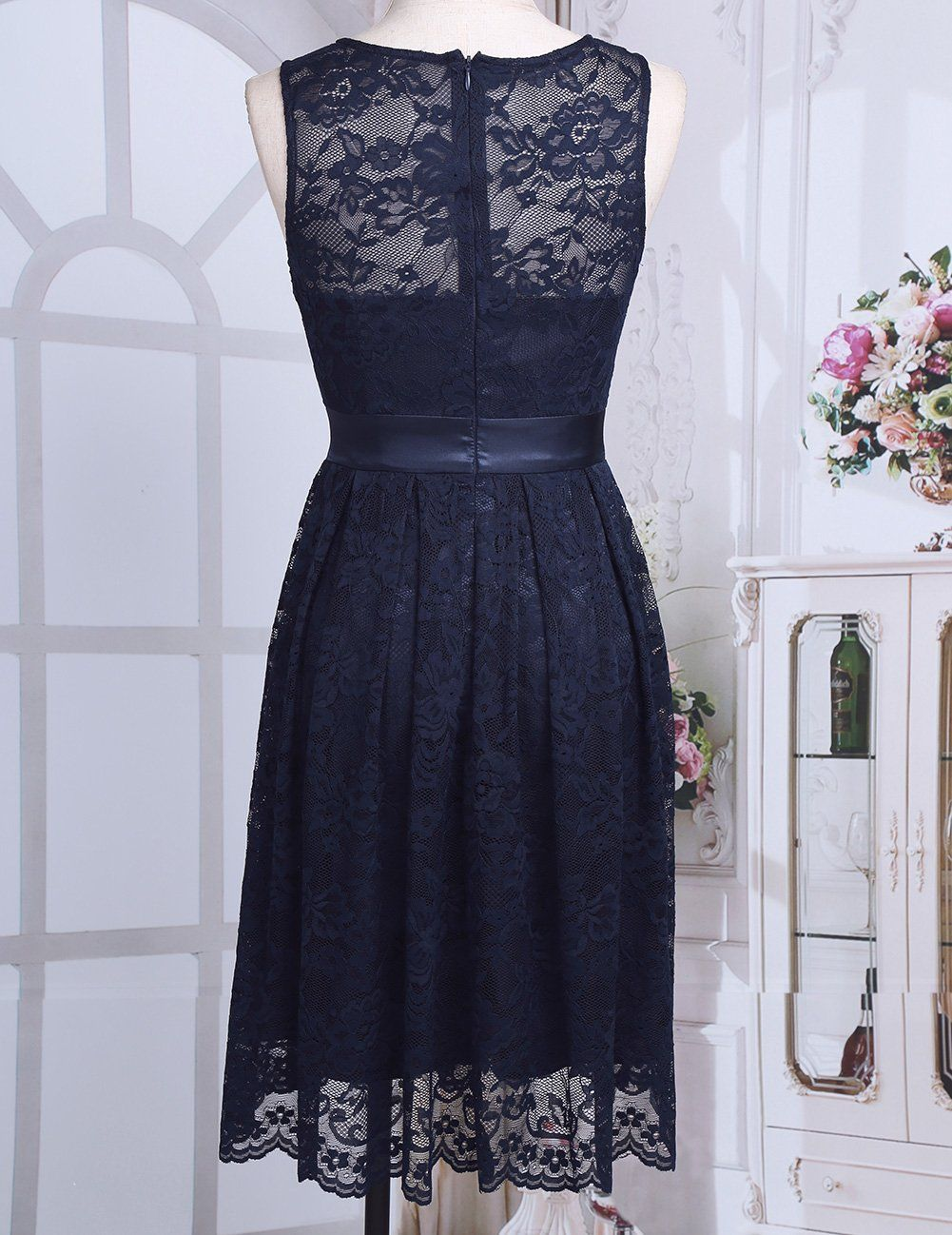 Freebily Women Floral Lace Bridesmaid Sleeveless Short Dress Evening Cocktail Party Navy Blue 10 >>> See this excellent product. (This is an affiliate link ). #bridesmaiddresses #navyblueshortdress