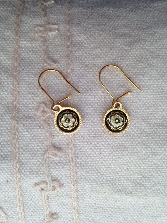 Pretty Spanish brass vintage Damascene clip on earrings