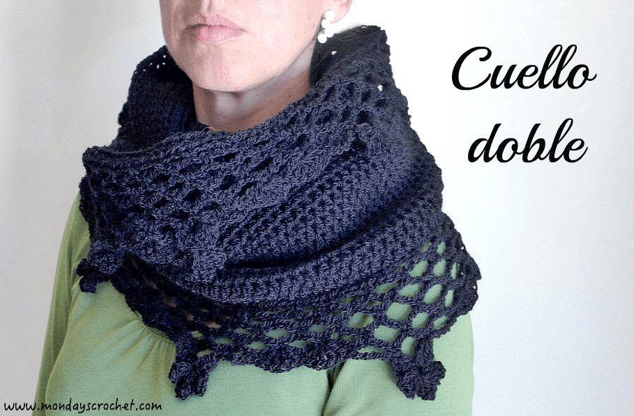 Cuello doble de crochet. Patrón gratuito / Crochet double Cowl. Free ...