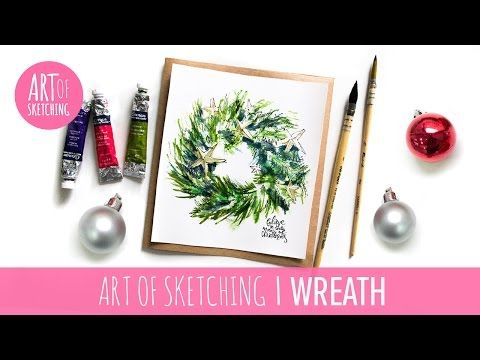 Photo of Christmas DIY card: Cute Christmas wreath illustration with watercolor