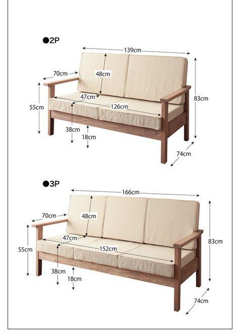 Natural wood nordic pine solid wood sofa heim heim two for Sofa cama vintage