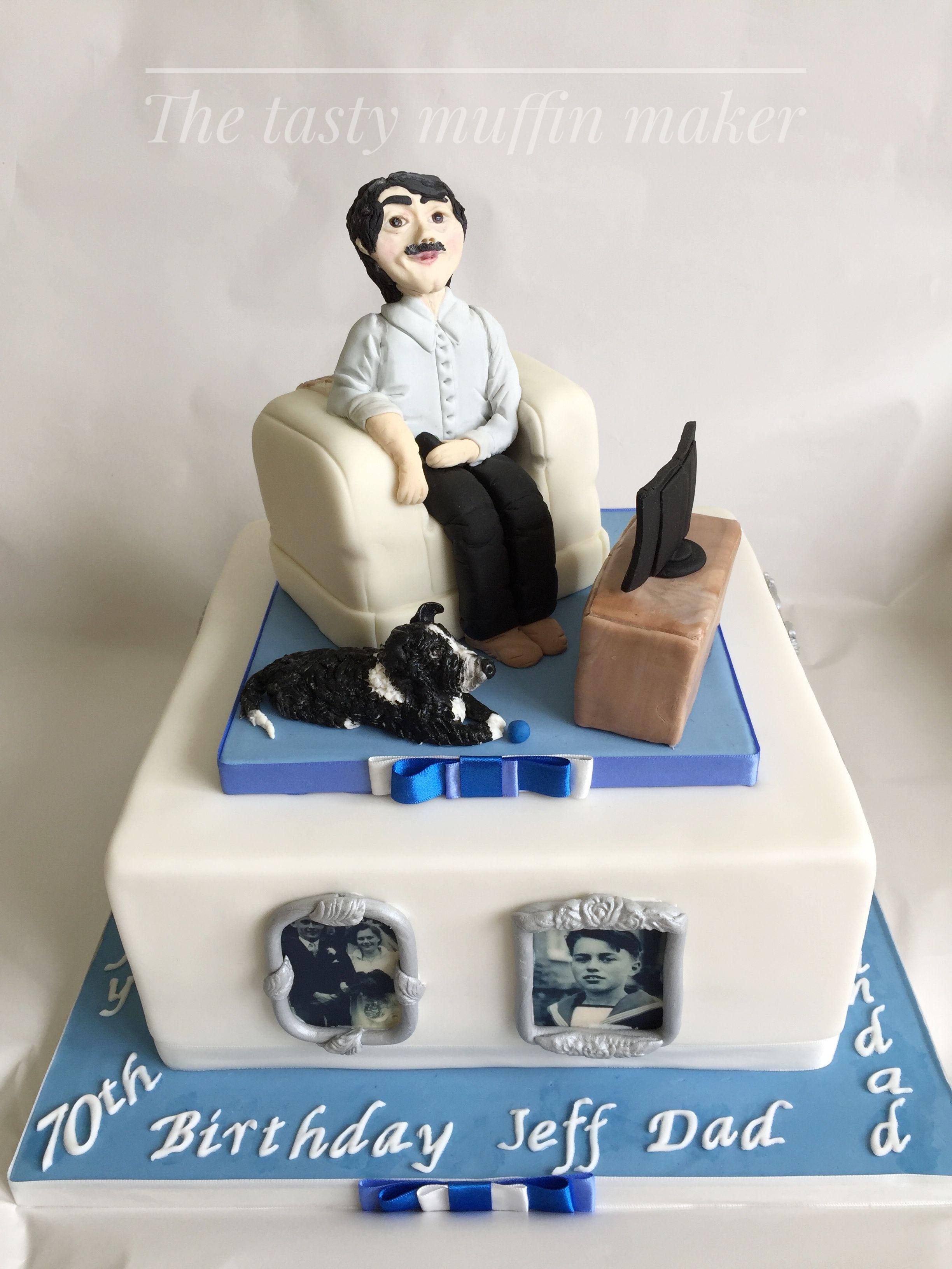 70th Birthday Cakemale Watching Tv Creative Cakes Ideas
