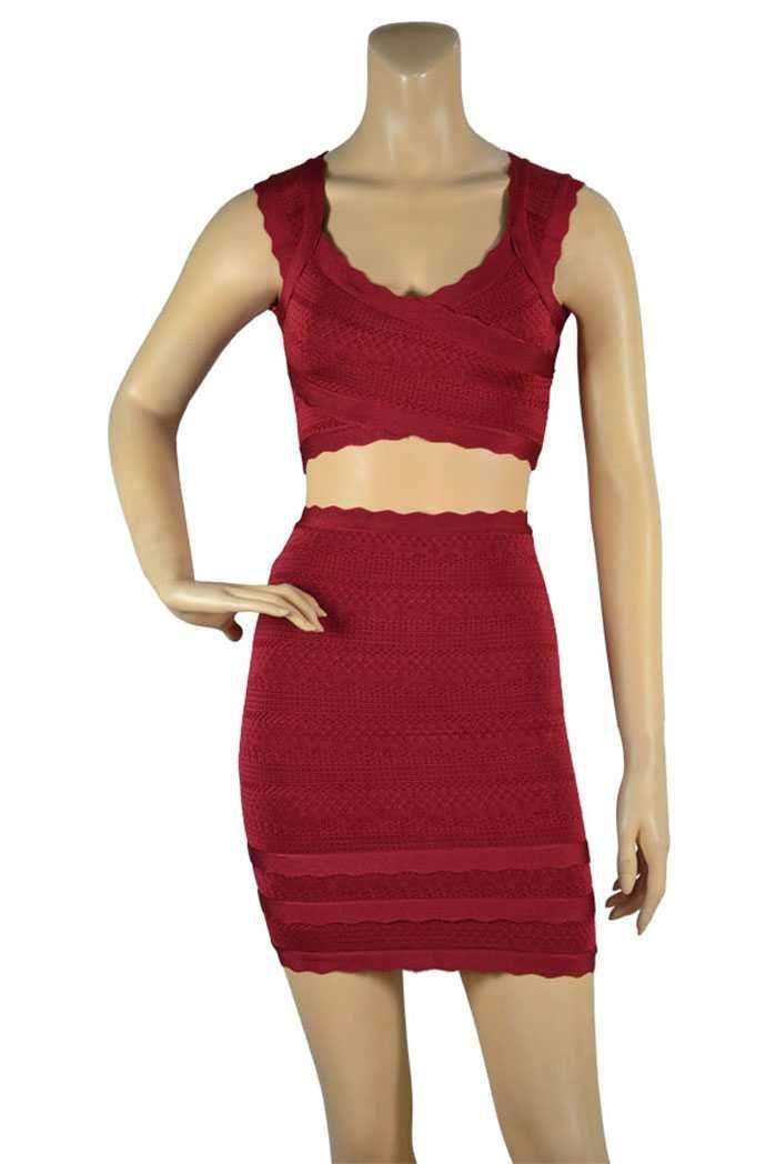 Herve Leger Wine Melo Lace Stitched Scalloped Trim Bandage Dress