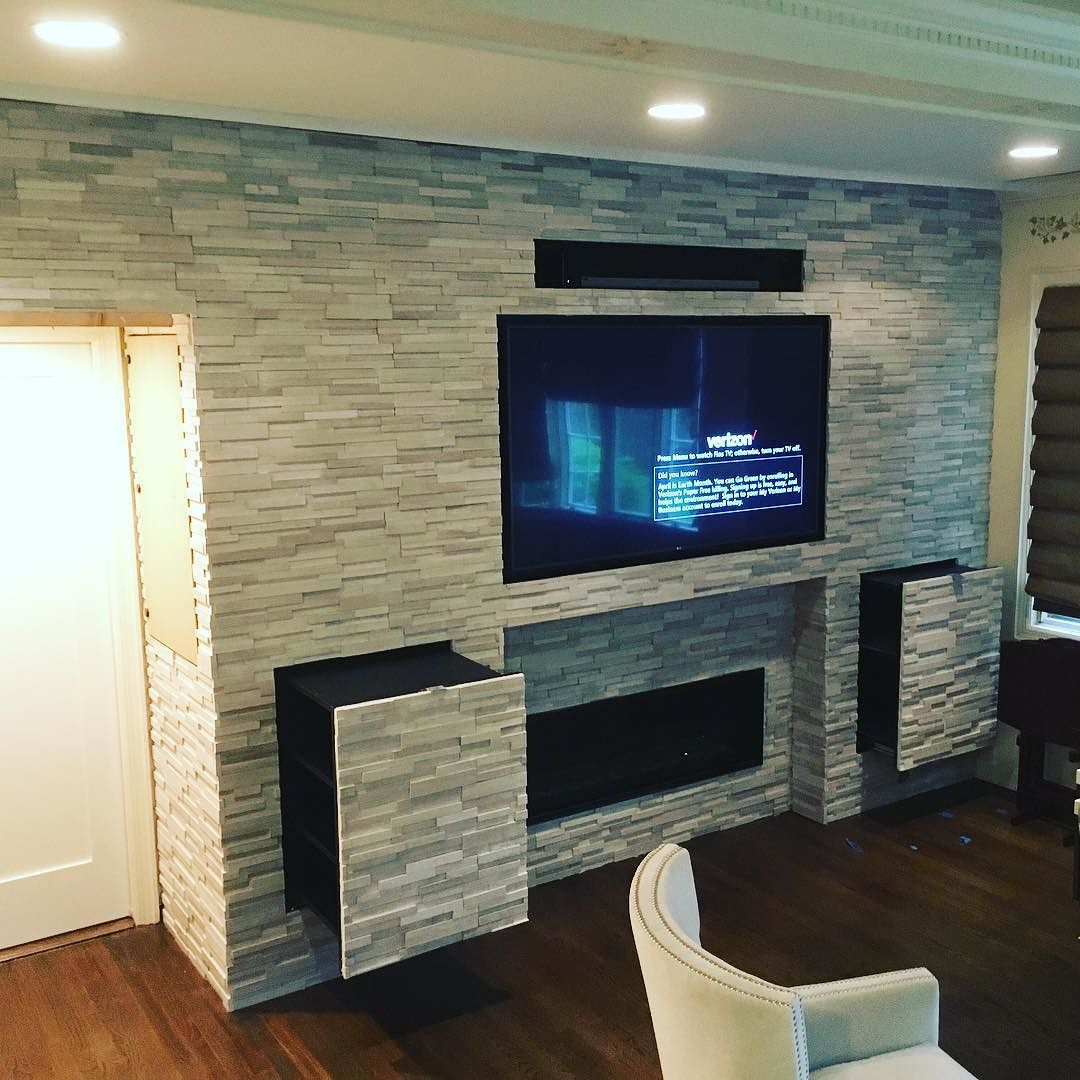 Entertainment Wall Unit Recessed Fireplace Tv Cabinet Sound Bar