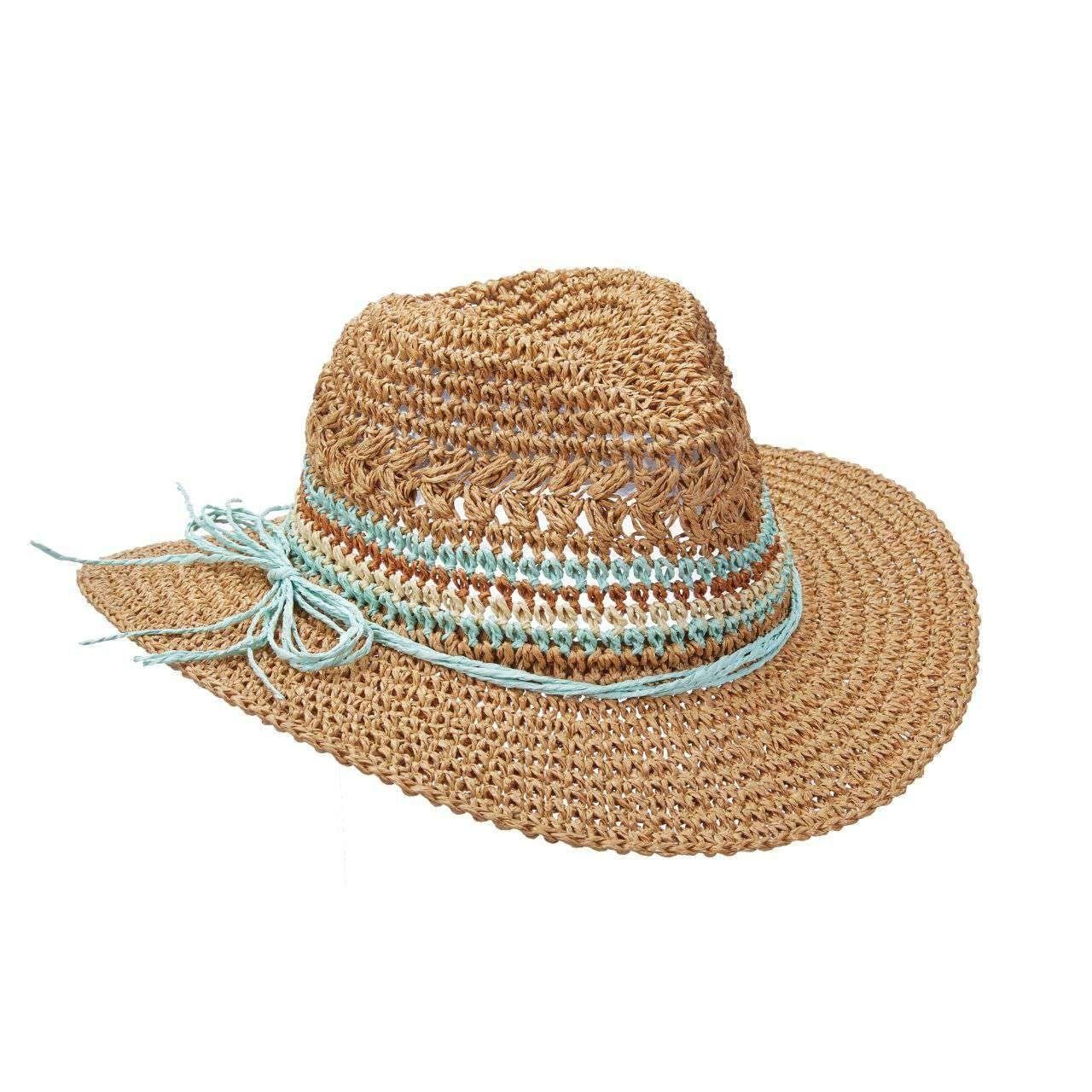 a8b7baccf4f201 Crocheted Straw Fedora with Multi Color Band for Women - Packable Hats —  SetarTrading Hats