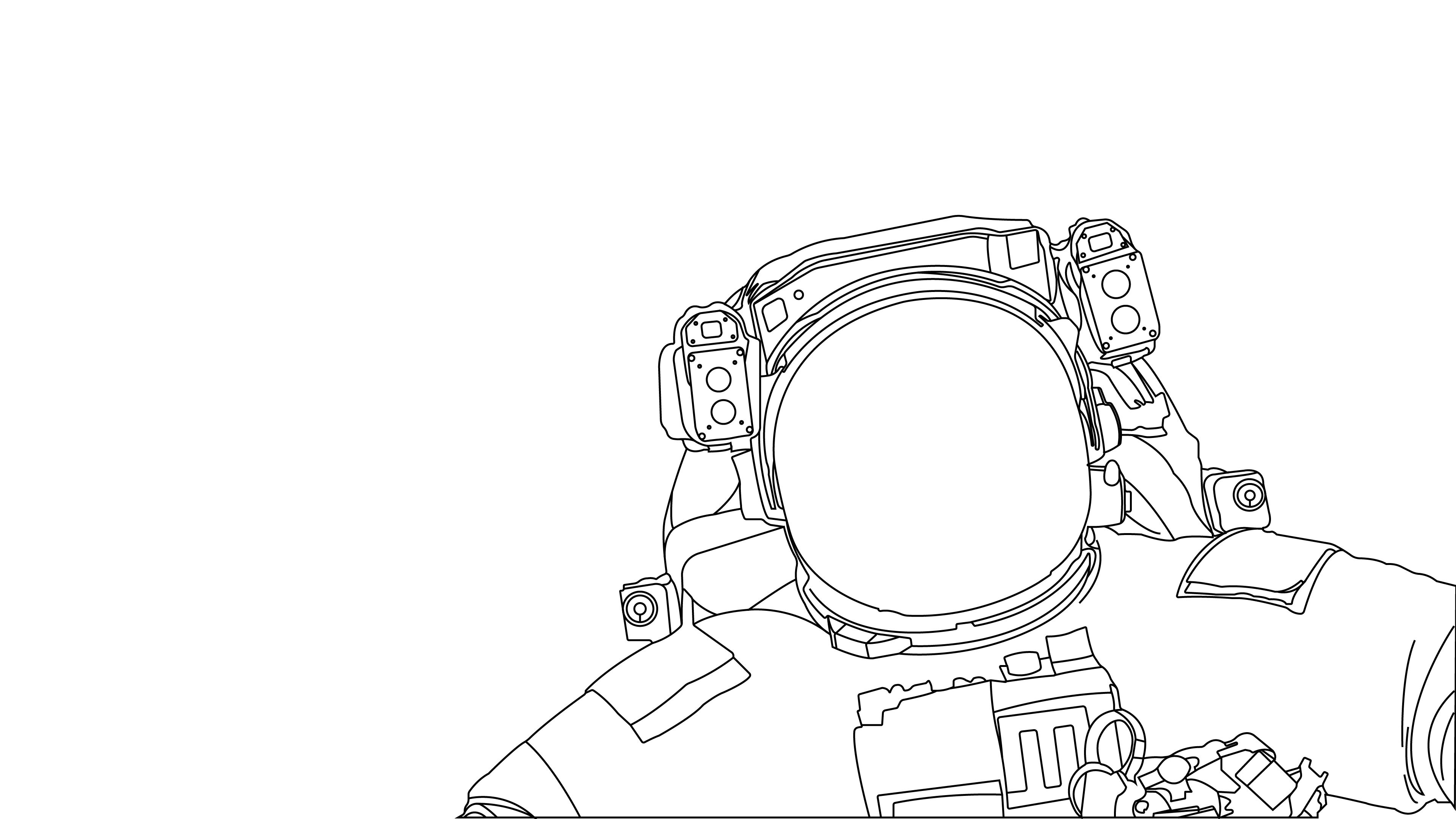 Vector Astronaut Outline (Abandoned x 2160