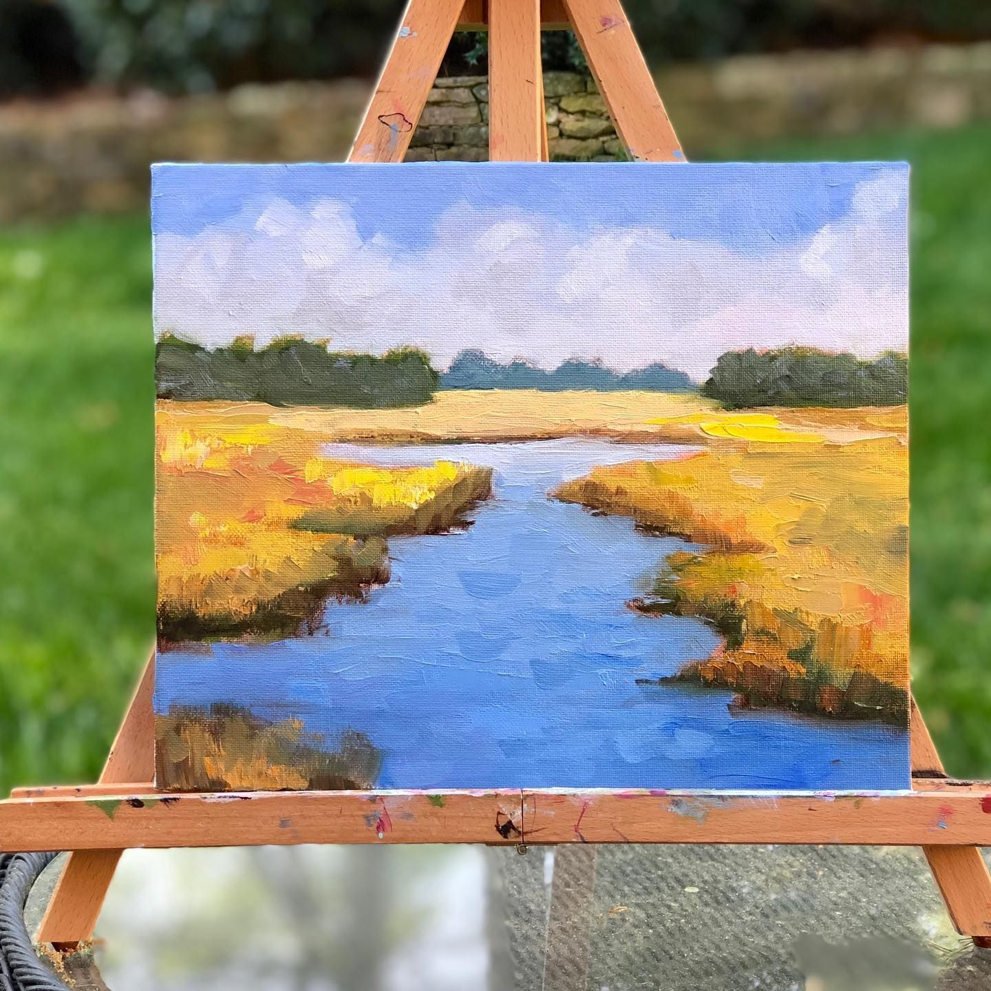 """This Marsh oil painting (8 x 10"""") captures the blue water and golden grasses of the low country.  No Place I'd Rather Be"""" seems like a good name for this piece.   Wishing I was there right now, feeling the breeze rustle grass and hearing the tidal flow of the water."""
