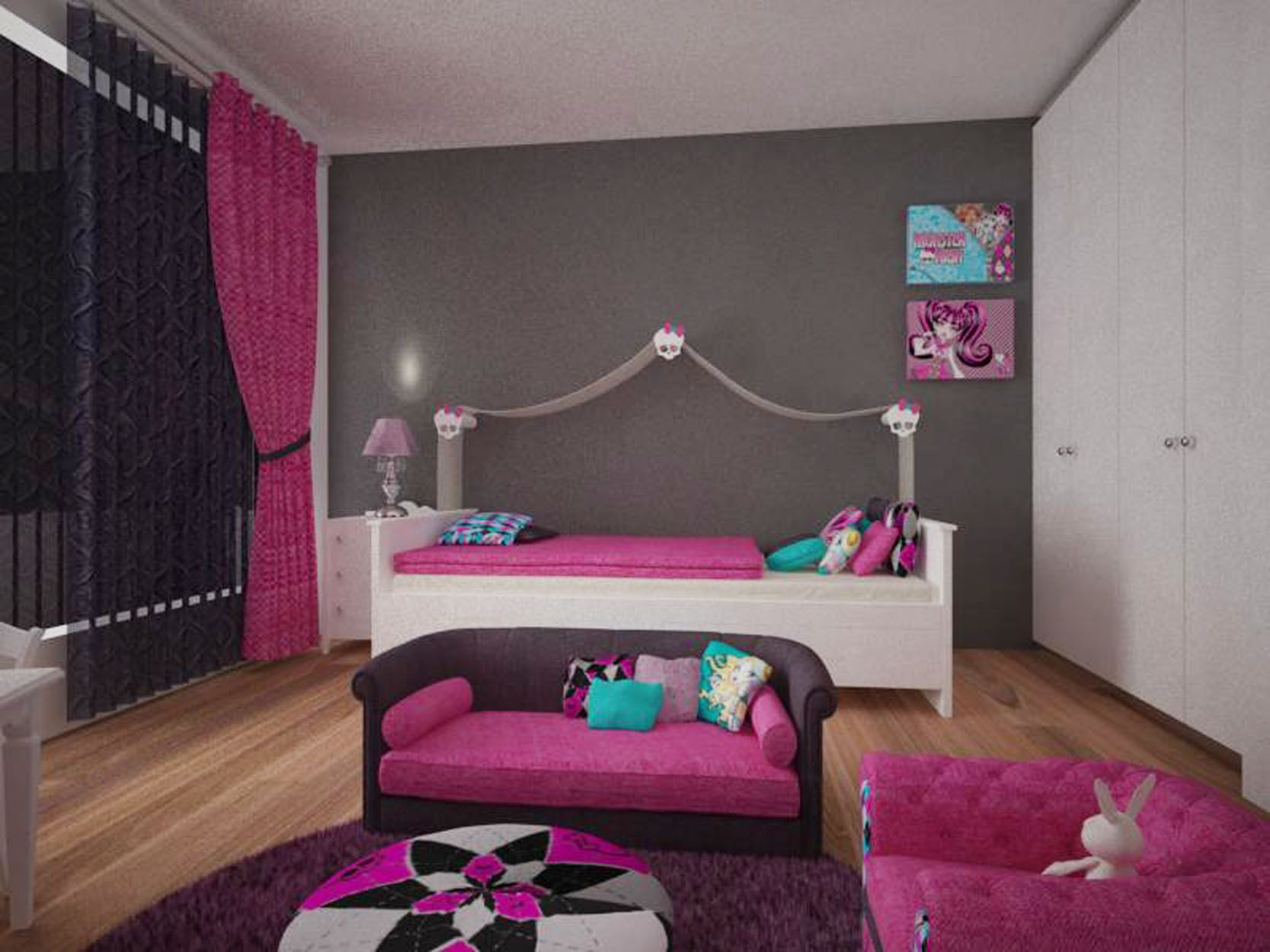 Habitaci n tem tica monster high utilizando como base en - Decoracion jovenes ...