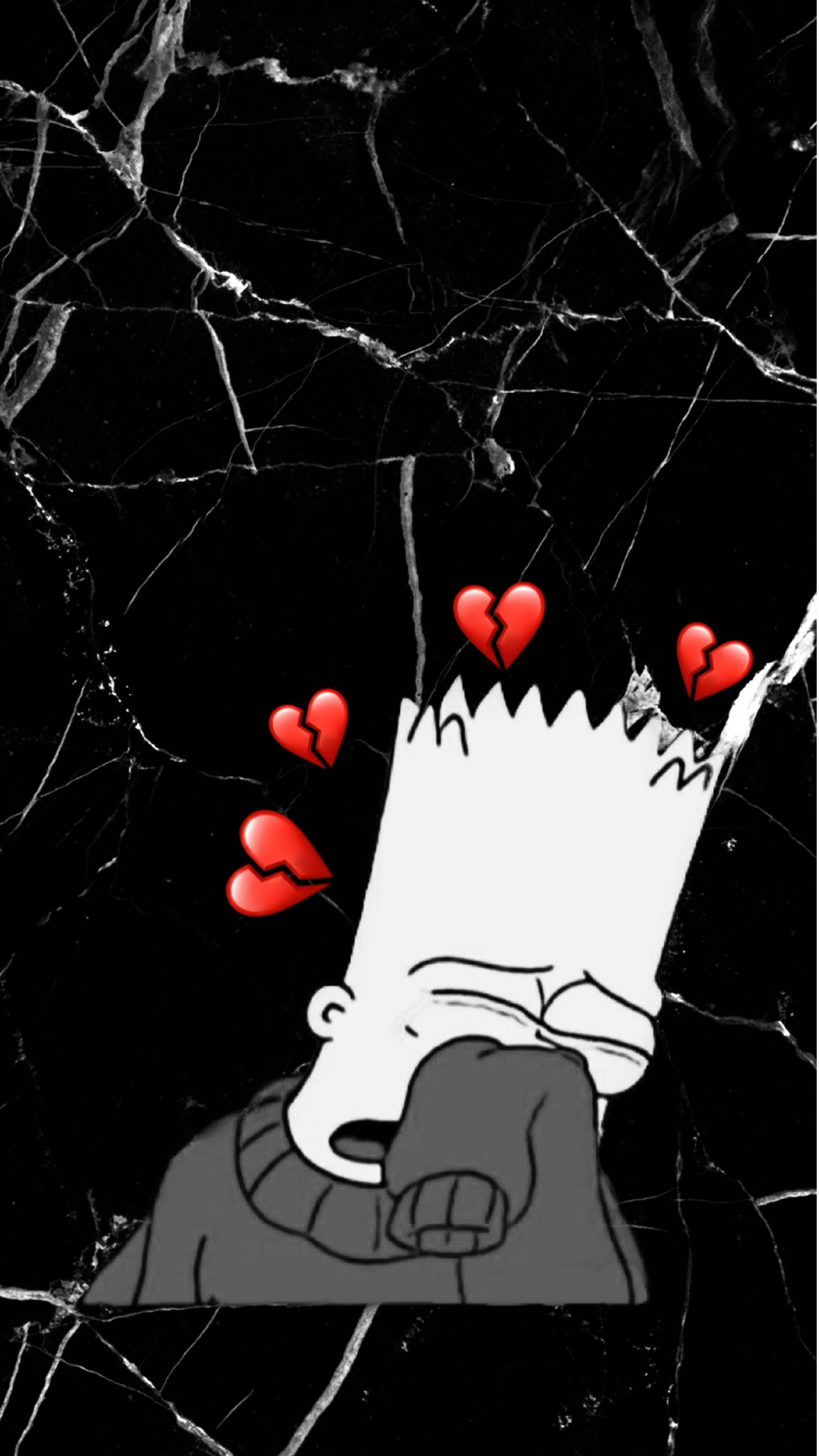 Bart Simpson Crying Marble Wallpaper Black and White Soft ...