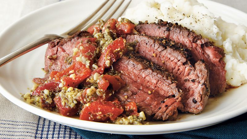 Enjoy this beef steak that's served with roasted red bell pepper pesto – a wonderful dinner that's ready in just 20 minutes.
