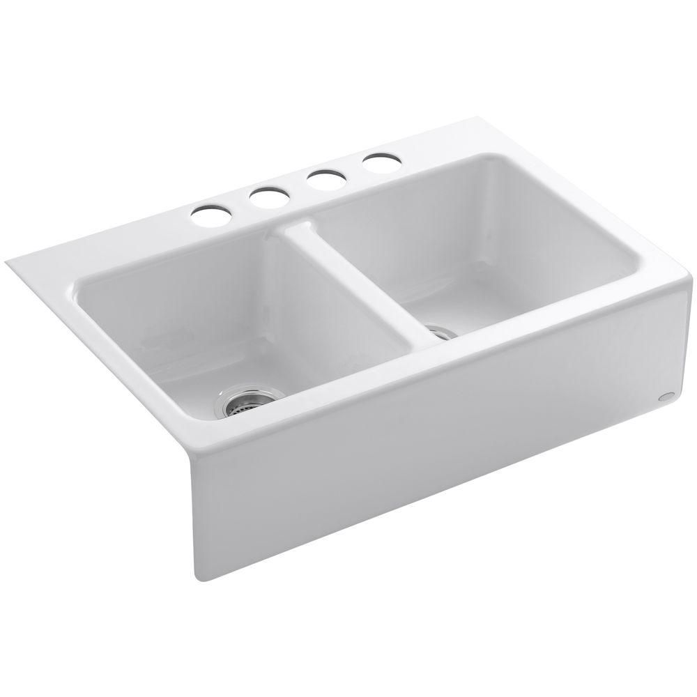 Kohler Whitehaven Farmhouse Apron Front Cast Iron 33 In Single Bowl Kitchen Sin Kohler Whitehaven Far In 2020 Single Bowl Kitchen Sink Kohler Whitehaven Whitehaven