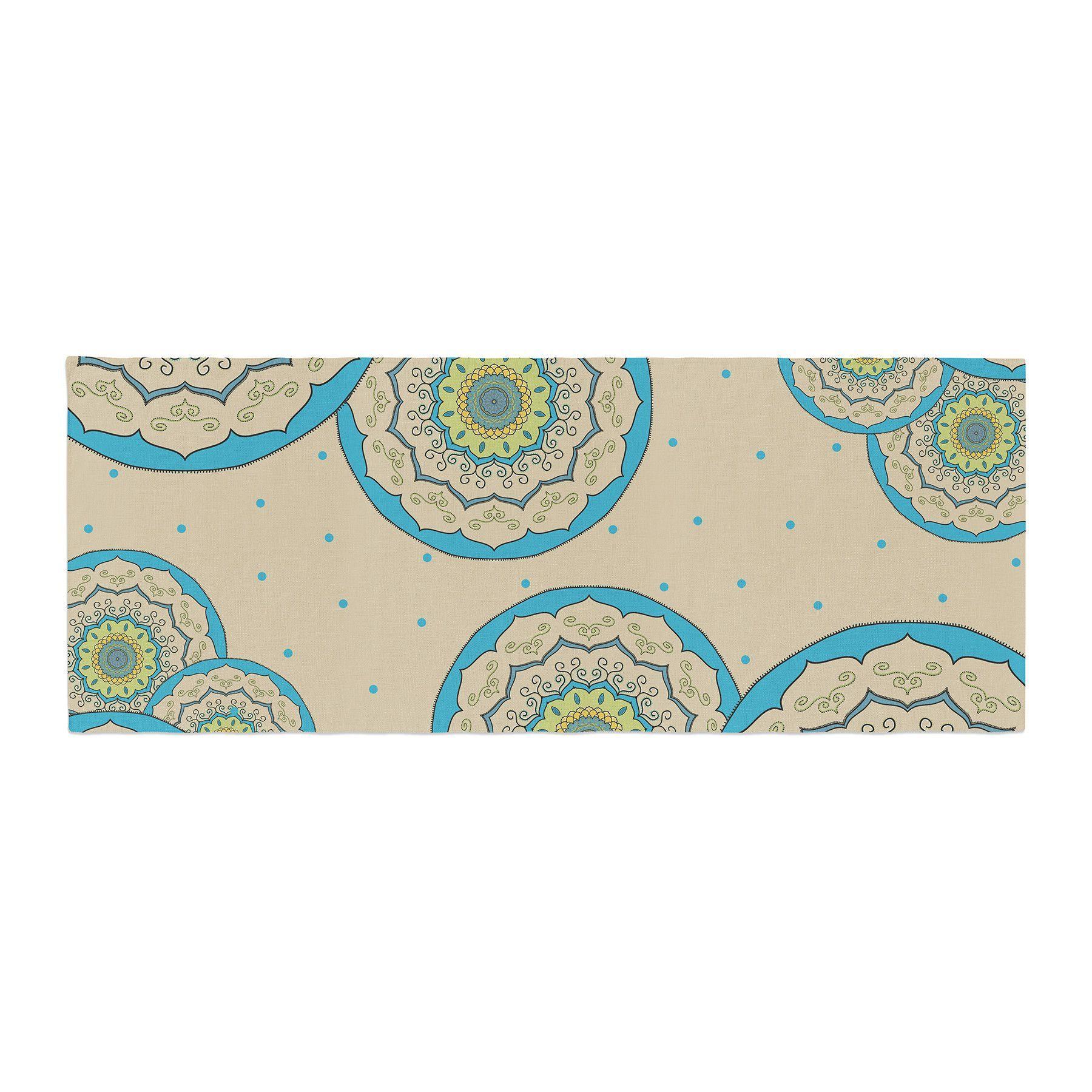 "Cristina Bianco Design ""Blue Green Mandala Design"" Blue Green Illustration Bed Runner"