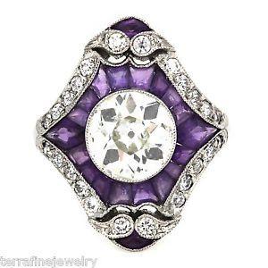 old european cut diamond set among amethysts