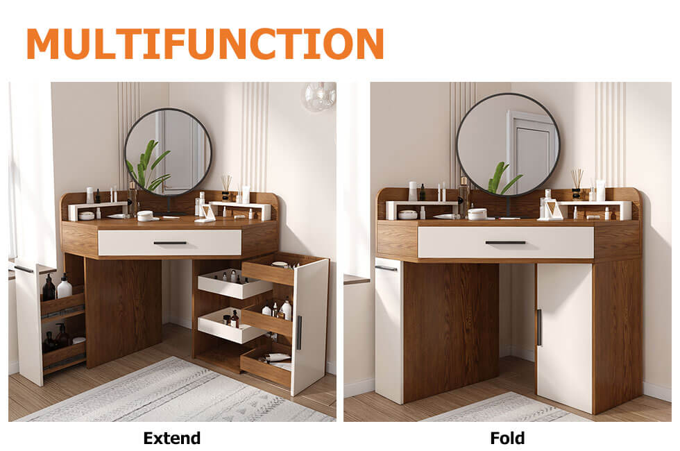 Corner Makeup Vanity with Drawer & Side Cabinet Multifunctional Dressing Table Mirror Included