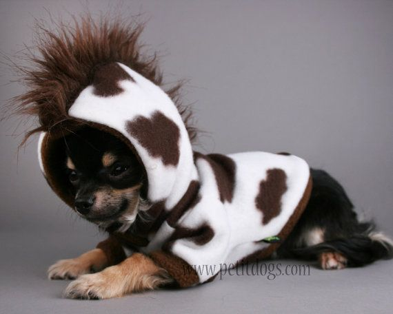 dog clothes xxs mohawk brown cow fleece costume by petitdogapparel 25 00