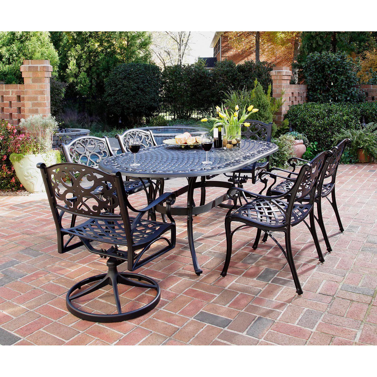 outdoor home styles biscayne black cast aluminum patio dining set rh pinterest com