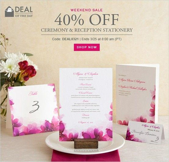 Wedding Ceremony And Reception Stationery Are On Sale This