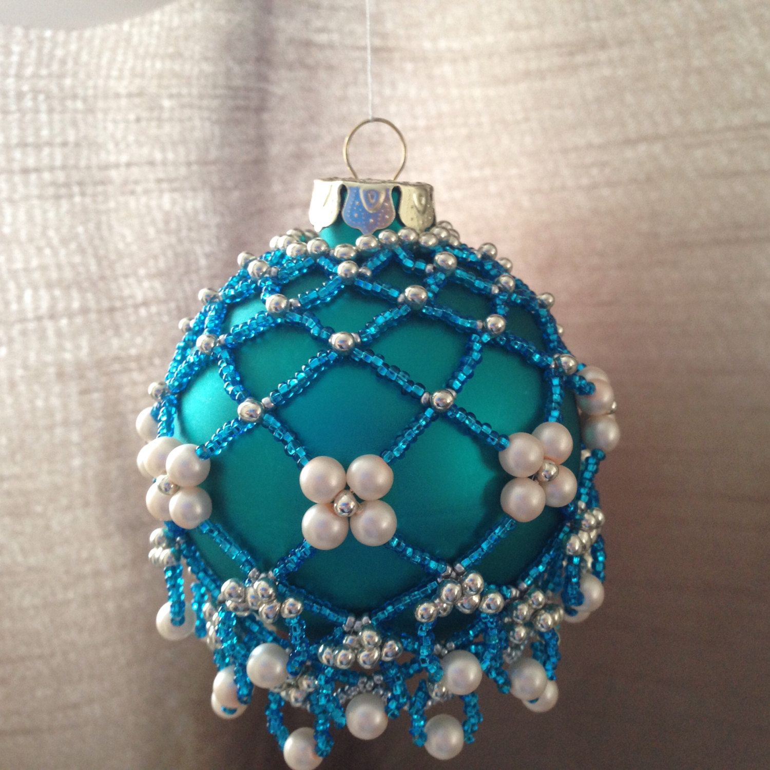 Beaded Ornament Cover Beaded Bauble Blue Silver Cream Pearls Frozen Colours Beaded Ornaments Beaded Ornament Covers Blue Baubles