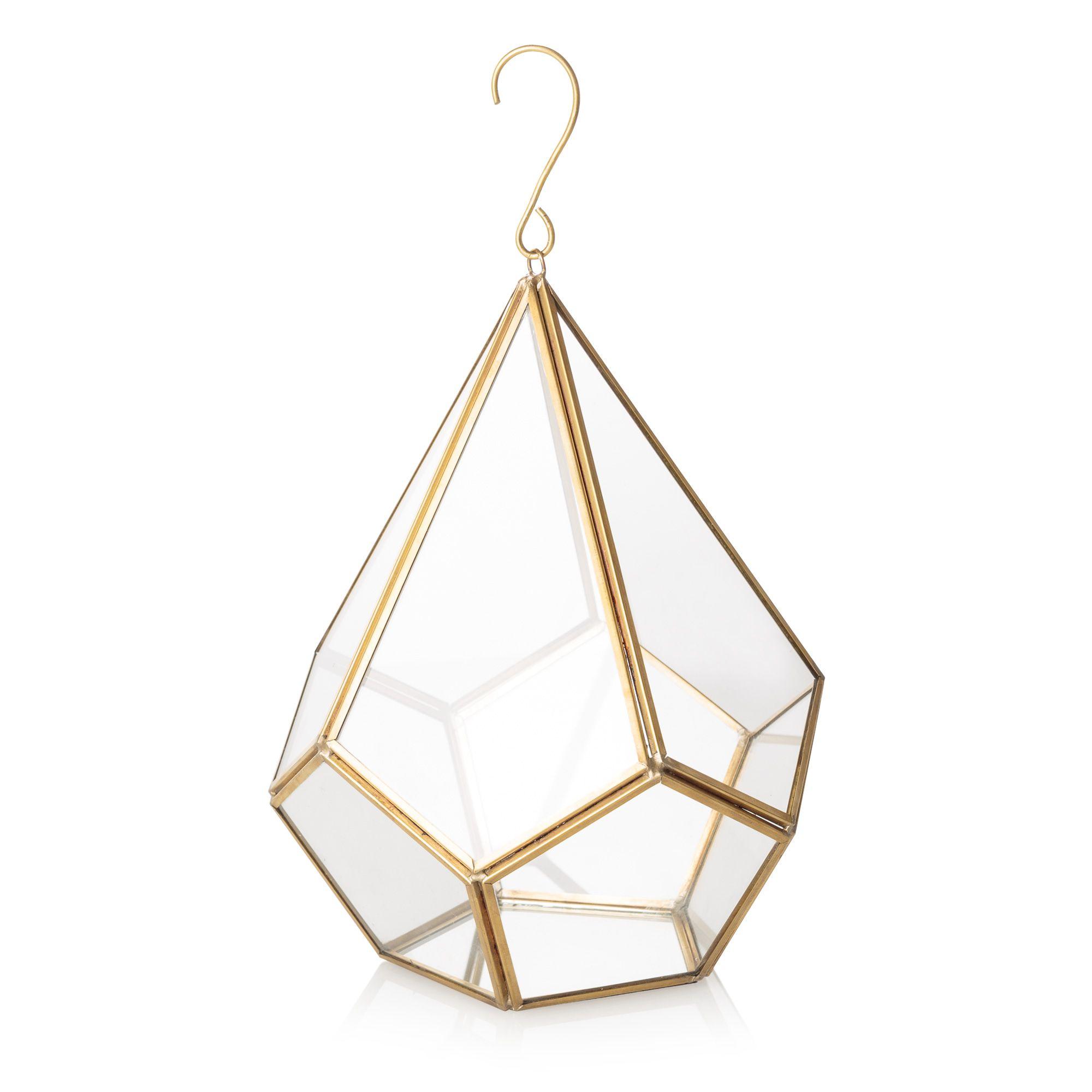 Buy the Hanging Gold & Glass Terrarium at Oliver Bonas. Enjoy free ...