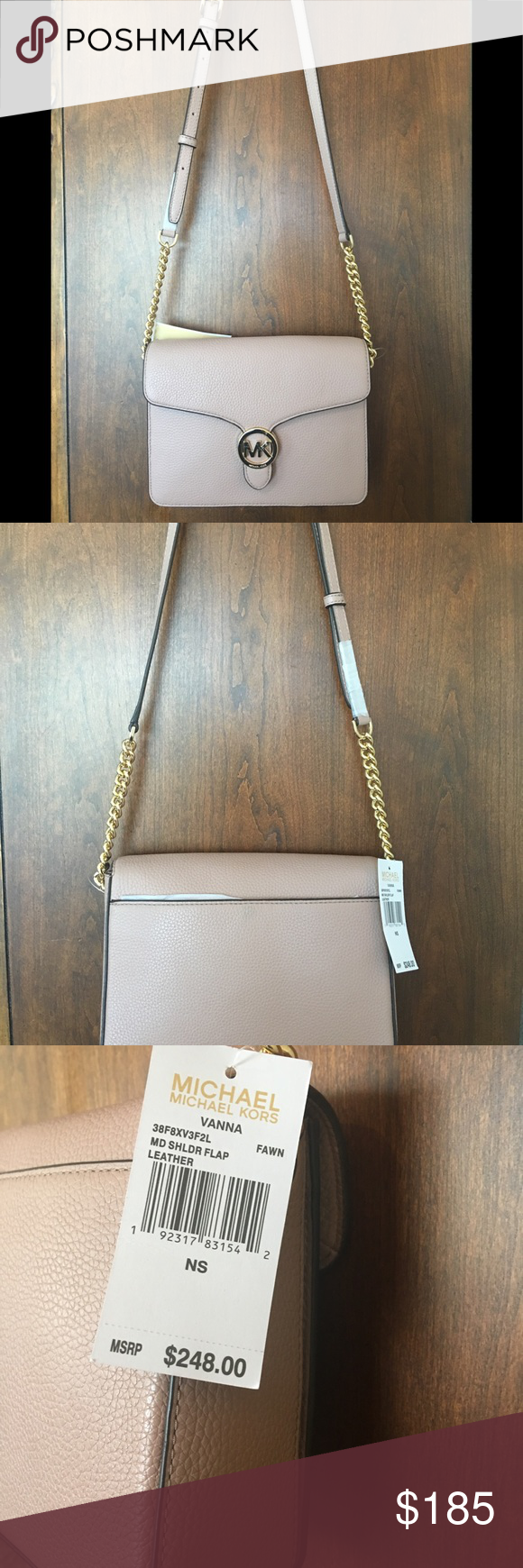 fdecf729f100 Michael Kors VANNA Med. Shoulder Flap Leather Michael Kors Medium Shoulder  Flap Leather Crossbody in Fawn (Light Mauve Dark Blush) wit…