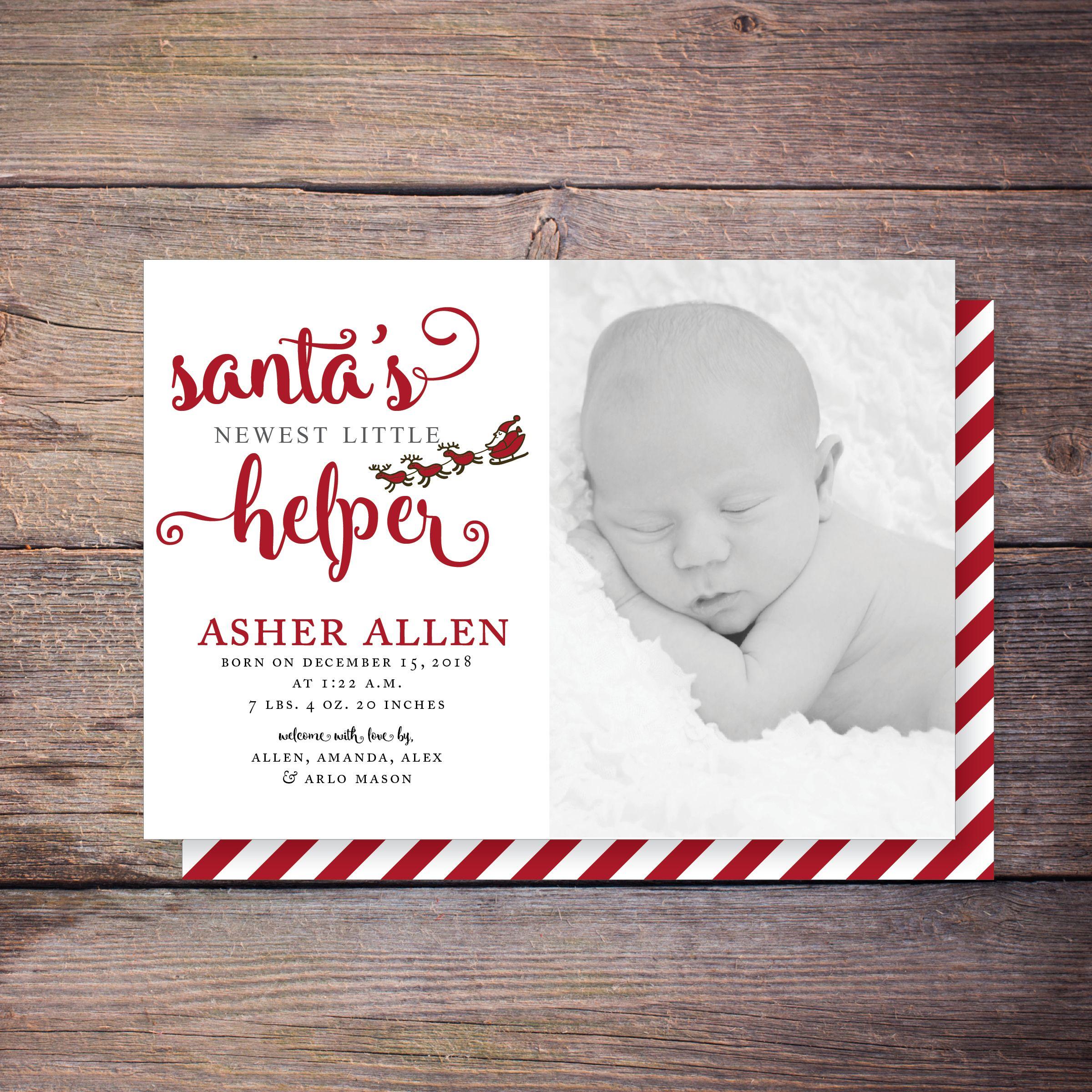 Santa\'s Little Helper Christmas birth announcement, holiday card ...