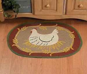Farm Animal Kitchen Decor En Braided Oval Small Area Accent Rug