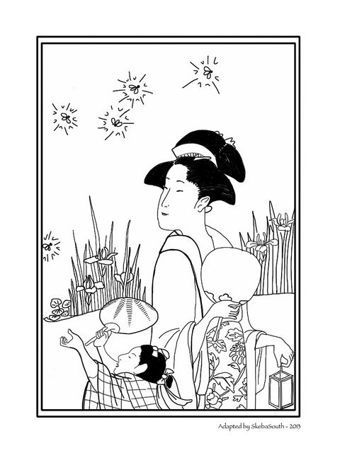 fireflies  japanese painting coloring pages drawings