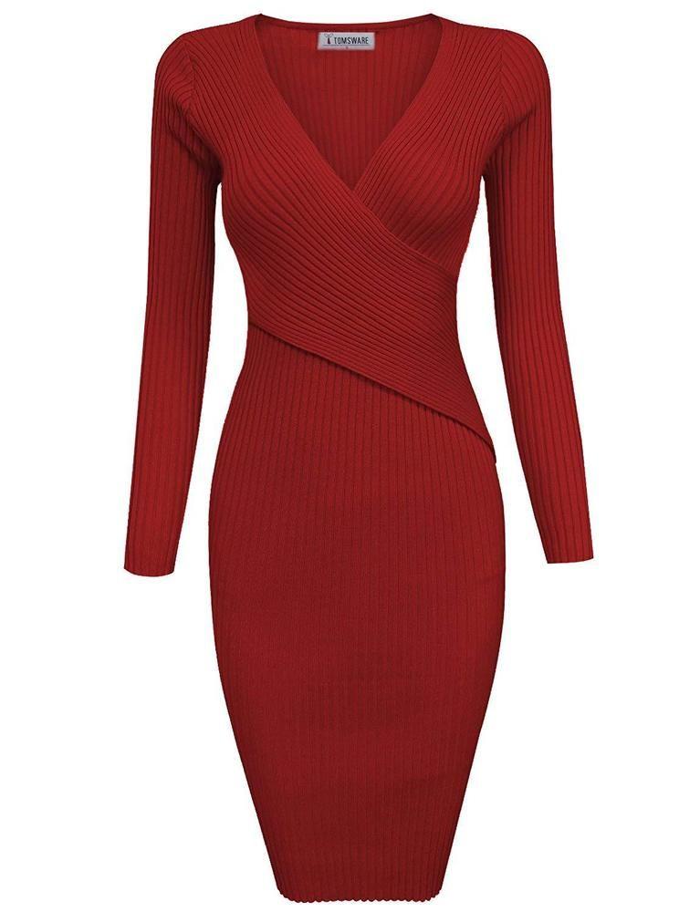 7d563747608 TAM Ware Womens Stylish Surplice Wrap Bodycon Knit Midi Dress  fashion   clothing  shoes