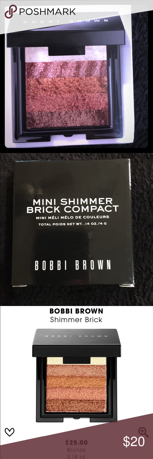 Bobbi Brown Shimmer Brick Compact Brand-new, never opened, Bobbi Brown Shimmer Brick Compact in Bronze What it is:  An iconic highlighter that instantly delivers soft-focus, lit-from-within color with a flattering combination of pale, golden, and rosy pinks.   What it does:  Achieve a glowing hint of shimmer with Bobbi Brown's Shimmer Brick. This compact features five shades infused with superfine pigments that reflect radiance and light. Just dust all five shades lightly on the top of…