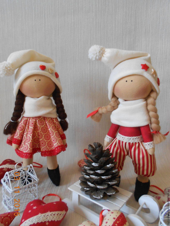 Купить Новогодние гномы (2) - ярко-красный, подарок на новый год, текстильная кукла, текстильная игрушка