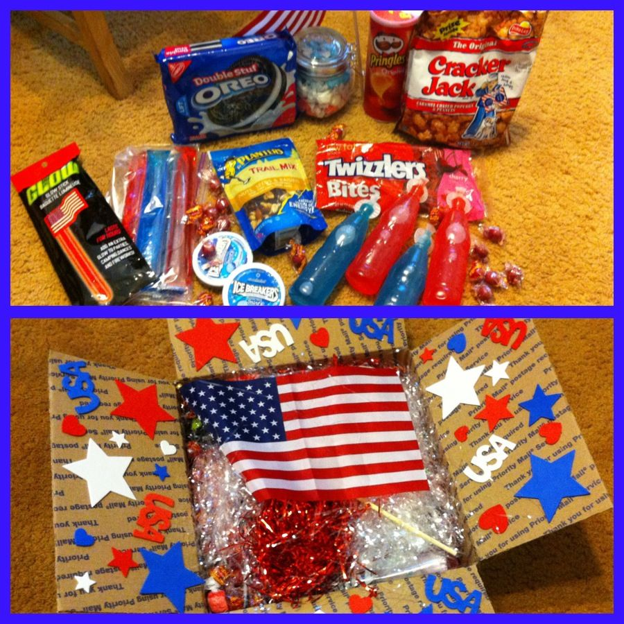 4th of July deployment care package!  All red, white and blue!