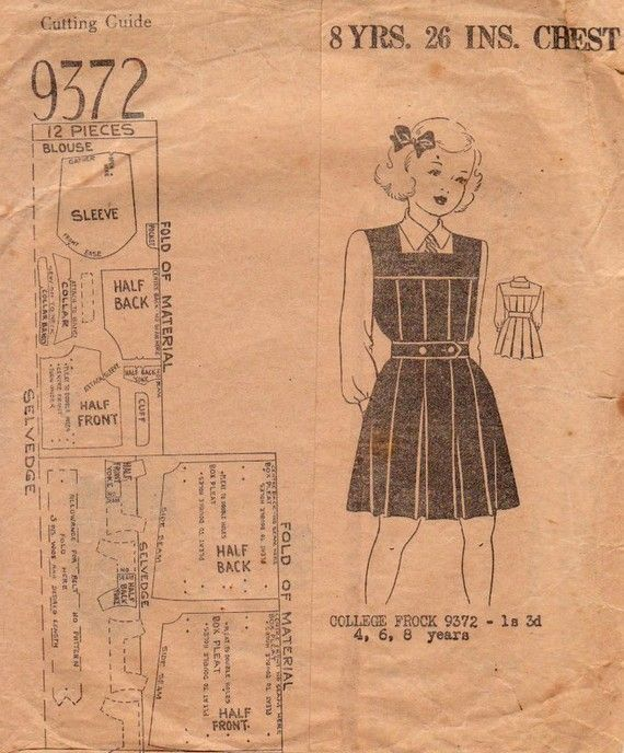 1940s Girls School Tunic Vintage Sewing Pattern by BessieAndMaive ...