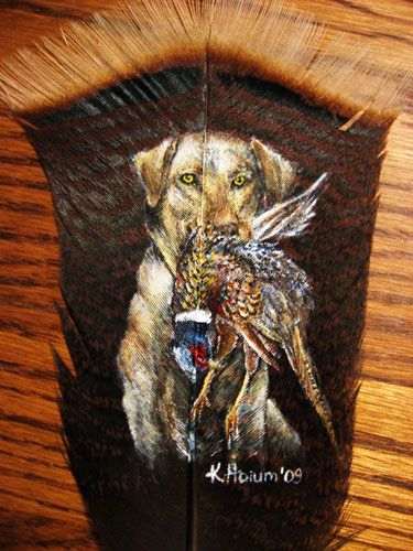 hunting dog painted on a feather by SpikedPyro. This is pretty cool.