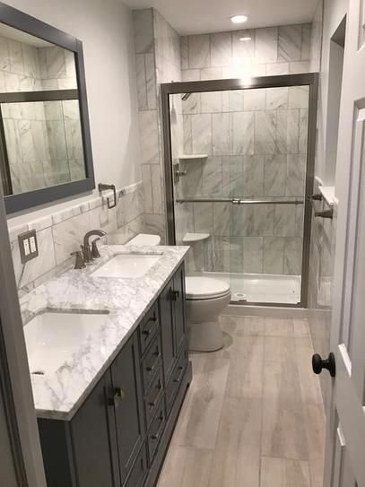 Stufurhome Newport 60 In W X 22 In D Vanity In Gray With Marble Vanity Top In Carrara White Bathroom Remodel Master Bathroom Makeover Bathroom Remodel Shower