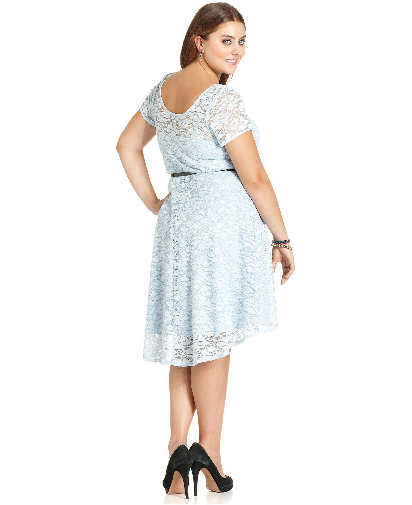 Ruby Rox Plus Size Dress, Short-Sleeve Lace Belted