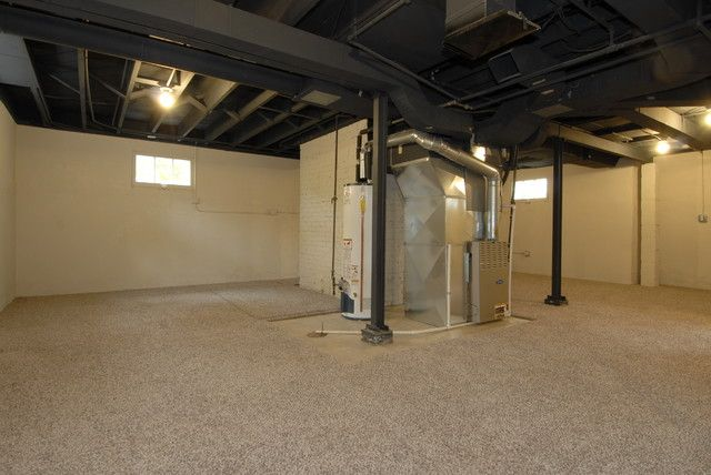 Dark Painted Cieling In Basement With Lightly Painted Walls And Floors With A Large Area Rug Basement Design Basement Remodeling Basement Ceiling Ideas Cheap