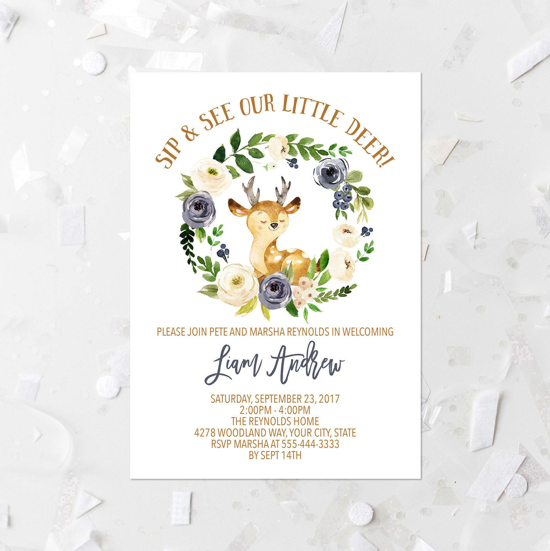 Spring Woodland Sip and See Invitation Printable Welcome Baby Invite ...