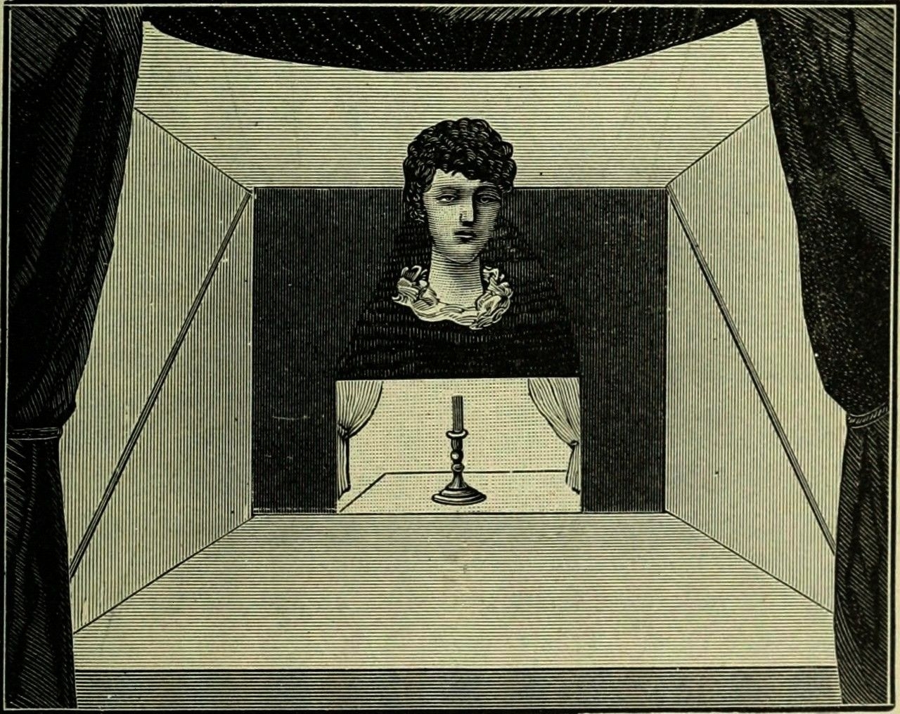 in the center of a stage Magic stage illusions and scientific diversions  An isolated head in the center of a stage Magic stage illusions and scientific diversi...