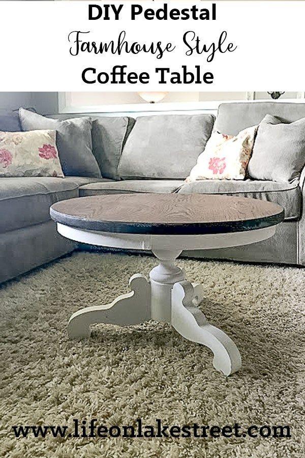 DIY Pedestal/Round Coffee Table Farmhouse Style! A Full