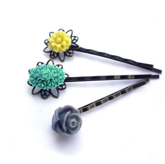 Flower Hair pins yellow teal gray resin rose by @JPwithLove http://etsy.me/vEPY5A @Etsy #Flower #Hair_pins #yellow #teal #gray #resin #rose $15