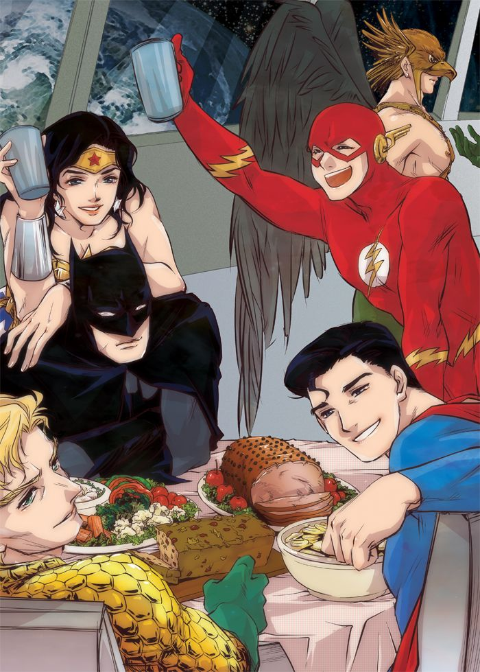 your EARTH is it well? by baveyoon.deviantart.com on @deviantART --Wonder Woman, Batman, Flash, Hawkman, Aquaman, Superman