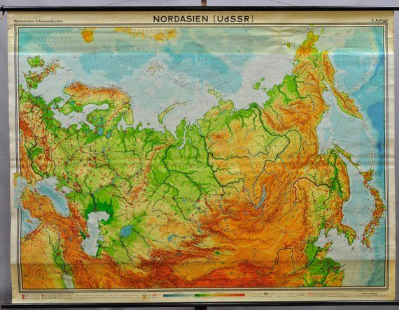 Map Of Asia To Print.Vintage School Map Rollable Wall Chart North Asia Russia Poster