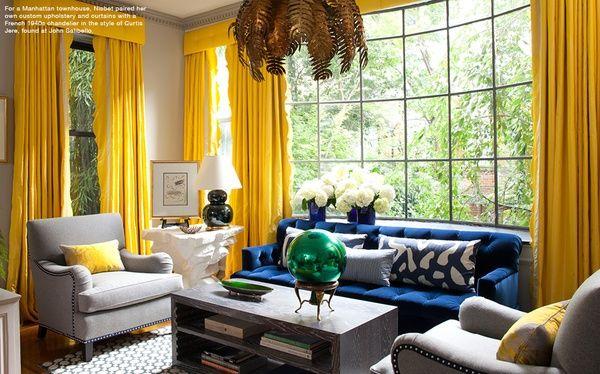 Blue Yellow Living Room Grey