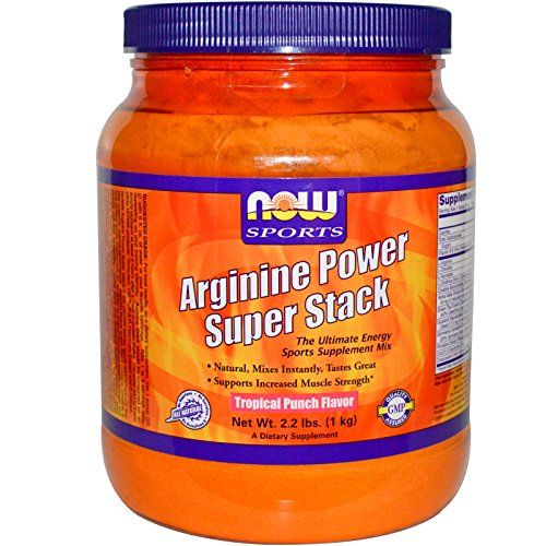 now foods arginine power super stack tropical punch flavor 2 2 lbs 4 pack tag a